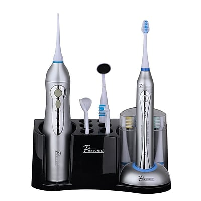 Pursonic Deluxe Home Dental Center Rechargeable Electric Toothbrush W/Bonus 12 Brush Heads