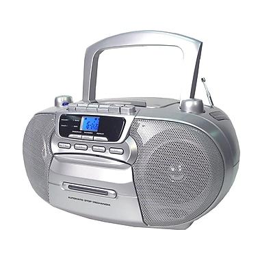 Supersonic® SC-727 Portable CD Player W/Cassette/Recorder & AM/FM Radio, Silver