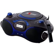 Axess® PB2704 Portable Boombox MP3/CD Player W/Text Display/AM/FM Stereo, Black/Blue