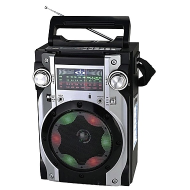 Quantum CS139BLK FX Karaoke Multimedia Speaker W/AM/FM/SW1-2 Radio, Black