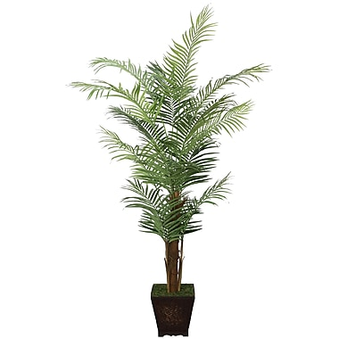 Laura Ashley 7' Silk Areca Palm Tree in a Decorative Wood Planter