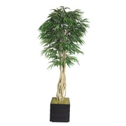 """Laura Ashley 84"""" Willow Ficus Tree With Multiple Trunks in 14"""" Fiberstone Planter, Black/Gray"""