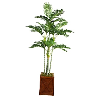 Laura Ashley 77in. Palm Tree in 13in. Fiberstone Planter
