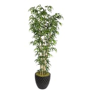 "Laura Ashley 78"" Natural Bamboo Tree in 16"" Fiberstone Planter, Black"
