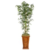 "Laura Ashley 91"" Natural Bamboo Tree in 16"" Fiberstone Planter, Brown"