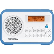Sangean PR-D18 FM-Stereo / AM Portable Digital Clock Radio, White/Blue