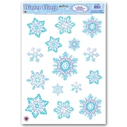 "Beistle 12"" x 17"" Crystal Snowflake Clings, 105/Pack"