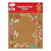 Beistle 9 x 12 Gingerbread Man Sticker Activity Sheet, 7/Pack