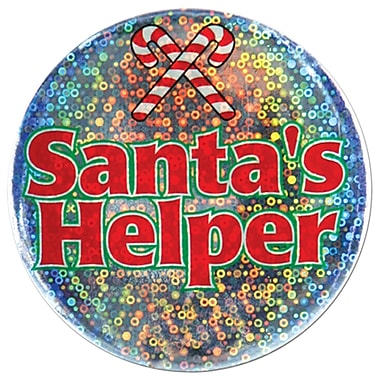Santa's Helper Button, 3-1/2
