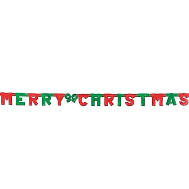 Banderole papier « Merry Christmas », 4 1/4 po x 5 pi 6 po, paquet de 4