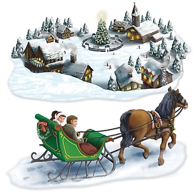 Holiday Village & Sleigh Ride Props, 4/Pack