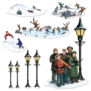 Accessoires de décoration « Réverbères, chants de Noël et jeux d'hiver », paquet de 18