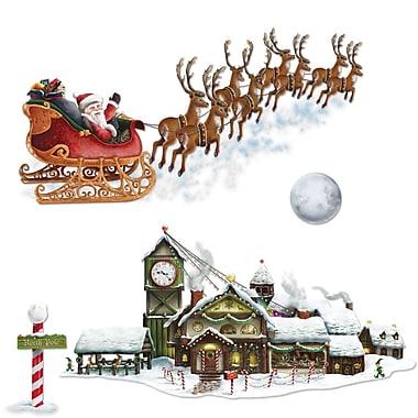 Accessoires de décoration « Traîneau et atelier du père Noël », paquet de 8