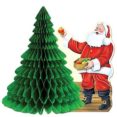 Milieu de table « Père Noël avec arbre en papier », 11 po, paquet de 4