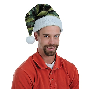 Velvet Camo Santa Hat with Plush Trim, 3/Pack