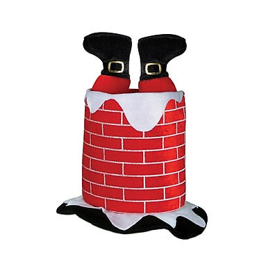 Chapeau en forme de cheminée avec Père Noël en peluche