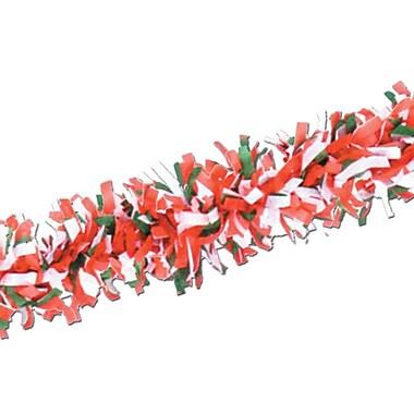 Beistle 25' Tissue Festooning Garland, Red/White/Green, 4/Pack