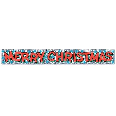 Bannière à franges « Merry Christmas » métallisée, 8 po x 5 pi, paquet de 4