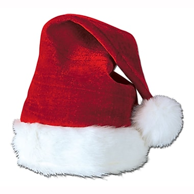 Red Velvet Santa Hat with Plush Trim, 4/Pack
