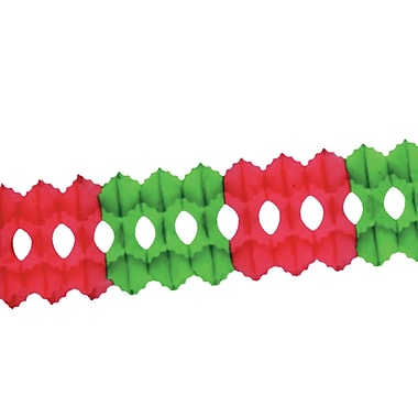 Paquet de guirlandes vert et rouge aux formes gothiques, 5 1/2 po x 12 pi, paquet de 3