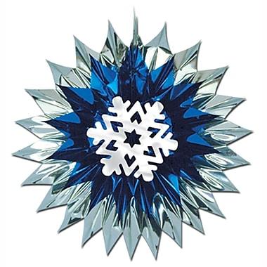 Éventail décoratif en forme de flocon de neige éclatant, 15 po, paquet de 4