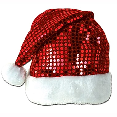 Red Sequin-Sheen Santa Hat, 4/Pack