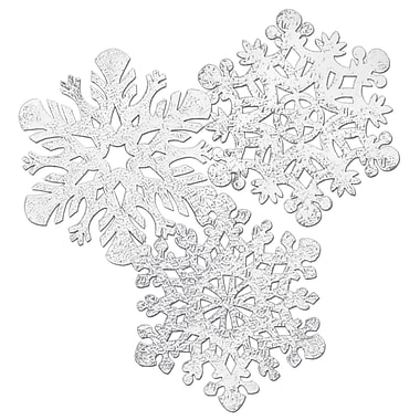 Packaged Silver Foil Snowflake Cutouts, 14