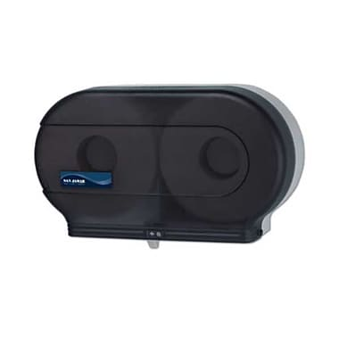 San Jamar R4000TBK, 9in. Plastic Twin Jumbo Bath Tissue Dispenser, Black Pearl