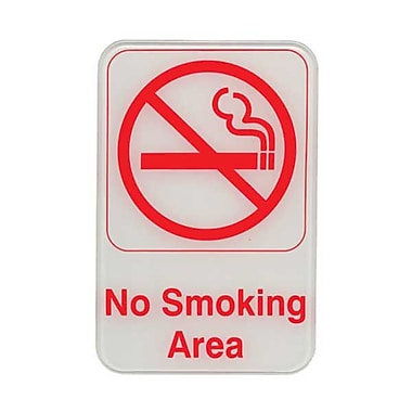 Update International S69-12RD 6in. x 9in. Plastic in.No Smoking Areain. Sign