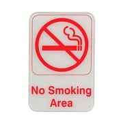 "Update International S69-12RD 6"" x 9"" Plastic ""No Smoking Area"" Sign"