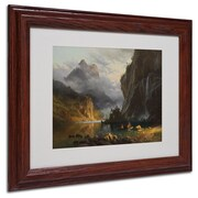 "Trademark Fine Art 'Indians Spear Fishing' 11"" x 14"" Wood Frame Art"
