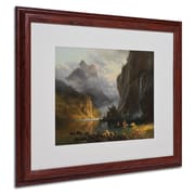 "Trademark Fine Art 'Indians Spear Fishing' 16"" x 20"" Wood Frame Art"