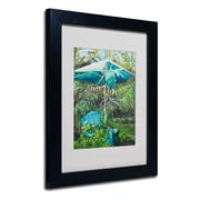 "Trademark Fine Art 'Chair Umbrella Garden' 11"" x 14"" Black Frame Art"