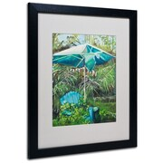"Trademark Fine Art 'Chair Umbrella Garden' 16"" x 20"" Black Frame Art"