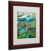 """Trademark Fine Art 'Chair Umbrella Garden' 11"""" x 14"""" Wood Frame Art"""