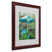 """Trademark Fine Art 'Chair Umbrella Garden' 16"""" x 20"""" Wood Frame Art"""