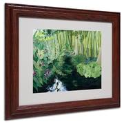"""Trademark Fine Art Bamboo Garden' 11"""" x 14"""" Wood Frame Art"""