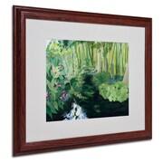 """Trademark Fine Art Bamboo Garden' 16"""" x 20"""" Wood Frame Art"""