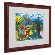 "Trademark Fine Art House By the Mountain' 16"" x 20"" Wood Frame Art"