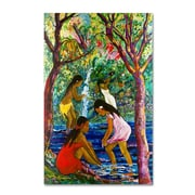 Trademark Fine Art 'Four Girls In Maui' 22 x 32 Canvas Art