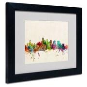 """Trademark Fine Art 'Boston, Massachusetts'  11"""" x 14"""" Black Frame Art"""