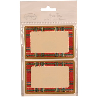 JAM Paper® 2 1/4in. x 3 1/2in. Red Flannel Name Tag Gift Label, 2/Page, 24/Pack