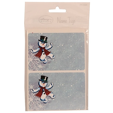 JAM Paper® 2 1/4in. x 3 1/2in. Dancing Snowman Name Tag Gift Label, 2/Page, 24/Pack