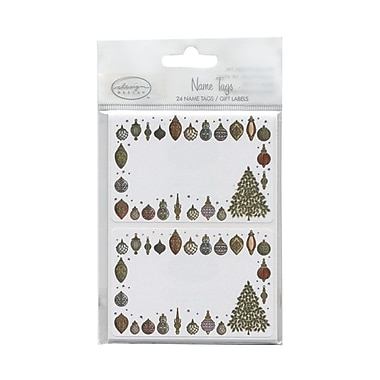 JAM Paper® 2 1/4in. x 3 1/2in. Gold Ornament Name Tag Gift Label, 2/Page, 24/Pack