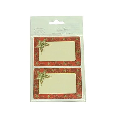 JAM Paper® 2 1/4in. x 3 1/2in. Red With Star Name Tag Gift Label, 2/Page, 24/Pack
