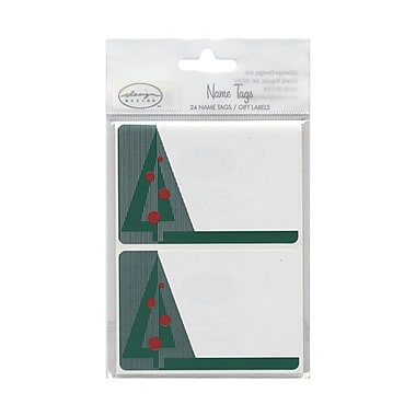JAM Paper® 2 1/4in. x 3 1/2in. Christmas Tree Name Tag Gift Label, 2/Page, 24/Pack