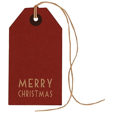 JAM Paper® Gift Tags with String, Medium, 2.38 x 4.25, Red Kraft Merry Christmas, 24/Pack (297524299g)