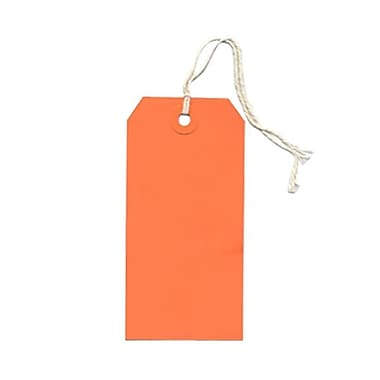 JAM Paper® Gift Tags with String, Medium, 2.38 x 4.75, Orange, 80/Pack (39197117g)