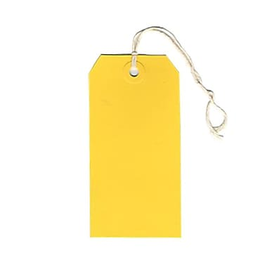 JAM Paper® Gift Tags with String, Medium, 2.38 x 4.75, Yellow, 80/Pack (39197121g)