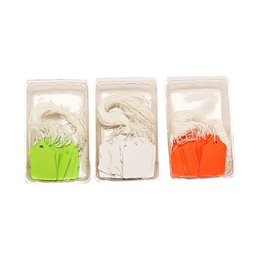 JAM Paper® Gift Tags with String, Mini, 1.75 x 1 1/10, 100 Green/ 150 White / 100 Orange, 350/set (291919114g)